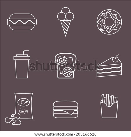 Fast food icons set for menu, cafe and restaurant. Junk food line set. Vector icons set - stock vector
