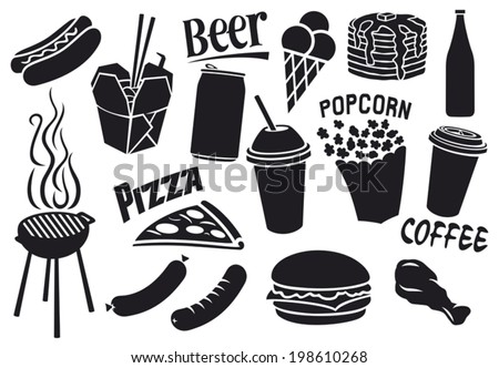fast food icons set (hamburger, pizza, hot dog, juice, Chinese fast food, fried chicken legs, barbecue grill, sausages, ice cream, pancake, milk shake, popcorn, paper cup of coffee) - stock vector