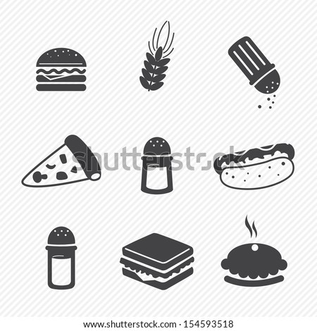 fast food icons set isolated on white background - stock vector
