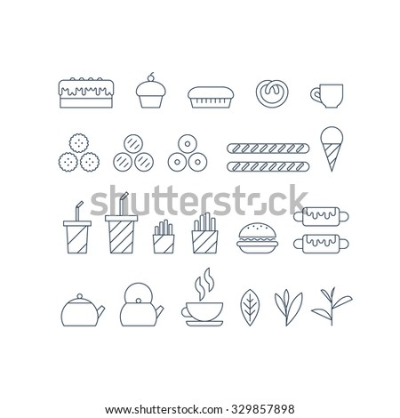 Fast food icons set, thin lines