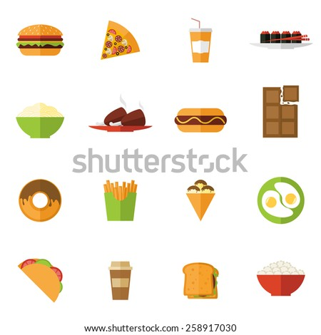 Fast food icons set with donut sushi pizza sandwich isolated vector illustration - stock vector