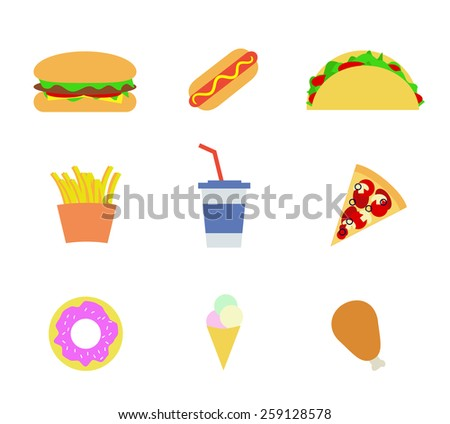Fast food icons. Vector - stock vector