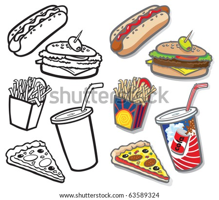 Fast Food Icons Vector icon collection of snack food related images, Fully editable layers included