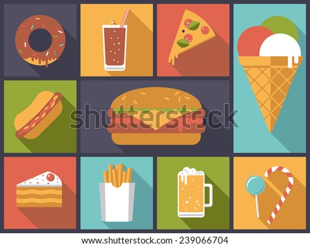 Fast Food icons vector illustration. Flat design illustration with various fast food icons. - stock vector