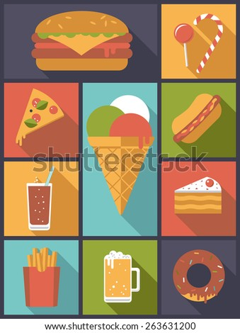 Fast Food icons vector illustration. Vertical flat design illustration with various fast food symbols - stock vector