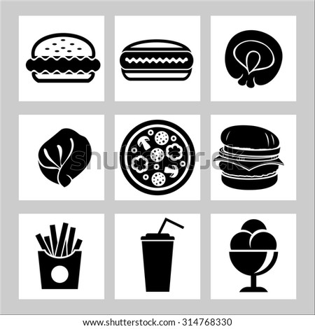 fast food icons, vector symbols - stock vector