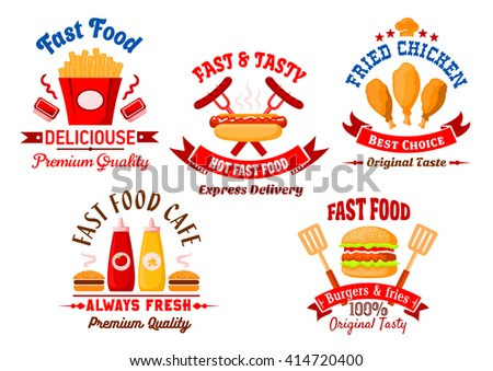Fast food icons with cartoon burgers, takeaway french fries with sauce cups, grilled hot dog and fried chicken legs with ketchup and mustard bottles, framed by ribbon banners, toque and headers