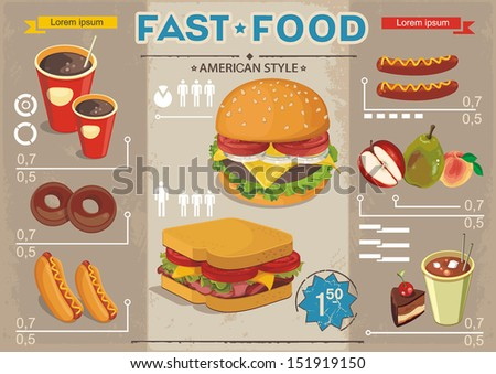 Fast food info graphics, vector background. Elegance Retro Cards for Fast Food Menu - stock vector