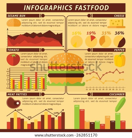Fast food infographics set with cheeseburger ingredients and charts vector illustration - stock vector