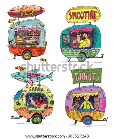fast food kiosk -  cartoon - stock vector