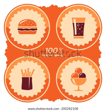 Fast food label design - stock vector