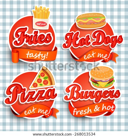 Fast food Label or Sticer - burgers, pizza, hot dog, fries  - Design Template. Vector illustration. - stock vector