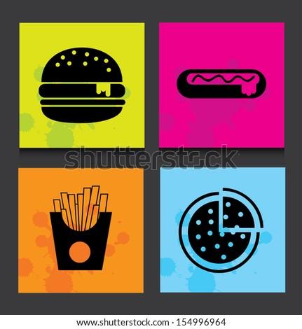 fast food label over black background vector illustration - stock vector