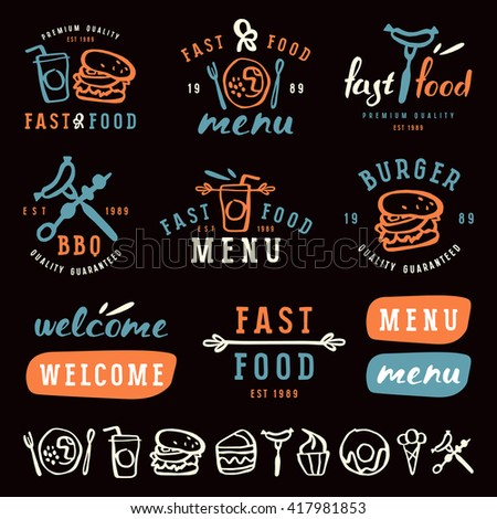 Fast Food Labels Template In Brush Drawing Style Color Print On Black Background