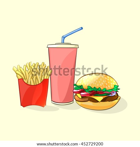 Fast food meal in cartoon style. Beverage cup with burger and french fries Vector illustration
