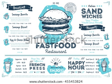 Fast food menu design and fast food hand drawn vector illustration. Restaurant or cafe  menu template with burger sketch. Fast food menu cover layout with breakfast, drinks, sweet and other menu items