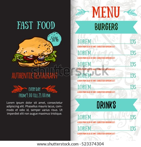 Restaurant Menu Design Template Newspaper Style Vector – Restaurant Menu Design Templates