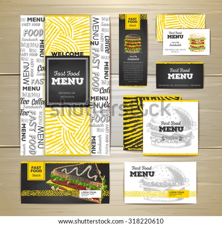 Fast food menu document template. Corporate identity - stock vector