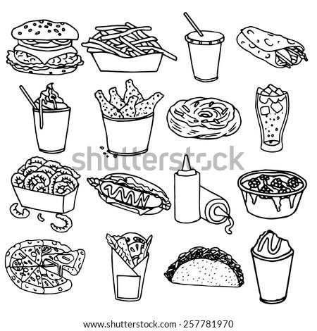 Fast food menu icons set with hamburger chips hotdog black outline symbols emblems sketch isolated vector illustration - stock vector
