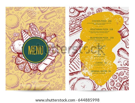 Fast food menu layout with hand drawn graphic. Cafe price catalog, junk food card with snack linear sketches. Fast food vector template with pizza, hot dog, chicken, drink pencil doodles