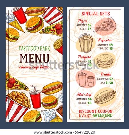 fast food menu template design pricesのベクター画像素材 664922020