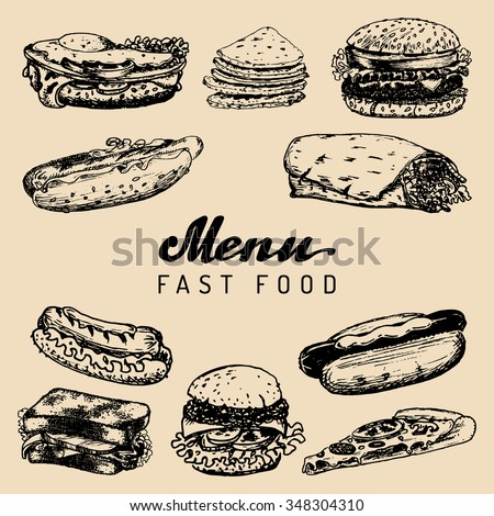Fast food menu vector. Burgers, hot dogs, sandwiches, dinners, burritos, tacos, pizzas, kebabs illustrations. Vintage hand drawn quick meals collection. Snack bar, fast-food restaurant icons. - stock vector