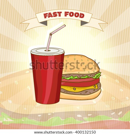 Fast food menu vector illustration