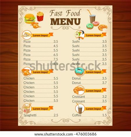 Fast Food Menu Decorative Frame Vignettes Stock Vector