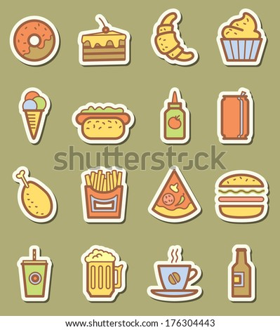 Fast food minimalistic icons set
