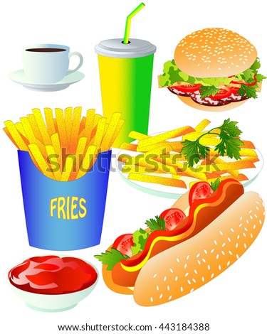 Fast food, on white background. Vector isolated illustration. Burger, hot dog, fries, tomato paste, cola and coffee cup