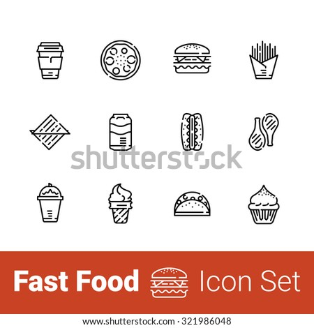 Fast food outline icon set of 12 icons.