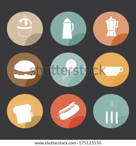 fast food over gray   background vector illustration