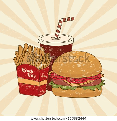 fast food over pink background vector illustration