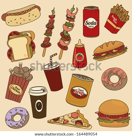fast food over pink  background vector illustration  - stock vector