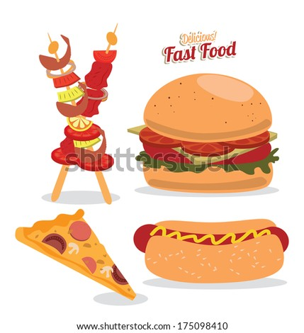 fast food over  white  background vector illustration