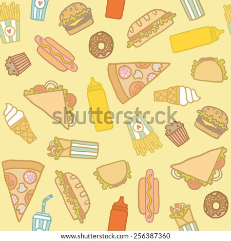 Fast food pattern. Hand drawn seamless pattern.  - stock vector