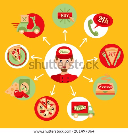 Fast food pizza delivery boy decorative icons set isolated vector illustration - stock vector