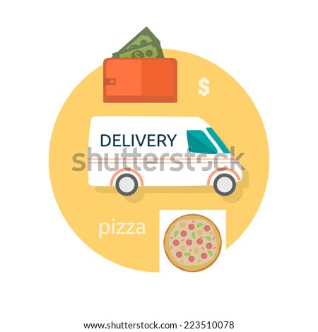 Fast food pizza delivery perfect service fresh ingredients online order purse with money decorative icons in flat design - stock vector