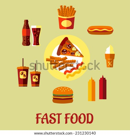 Fast Food poster with a central plate of pizza and French fries surrounded by a cheeseburger, coffee, soda, potato chips, hot dog, ice cream cone and condiments, vector cartoon, illustration