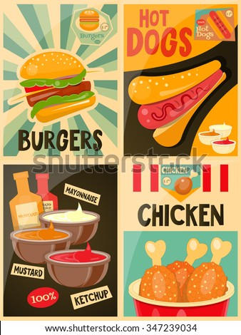 Fast Food posters collection - Burgers, Hot Dog and Chicken Advertising in Retro Style. Vector Illustration.