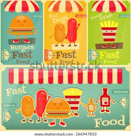 Fast Food Posters Set. Cartoon Fanny Fries, Hot Dog, Burger. Vector Illustration. - stock vector