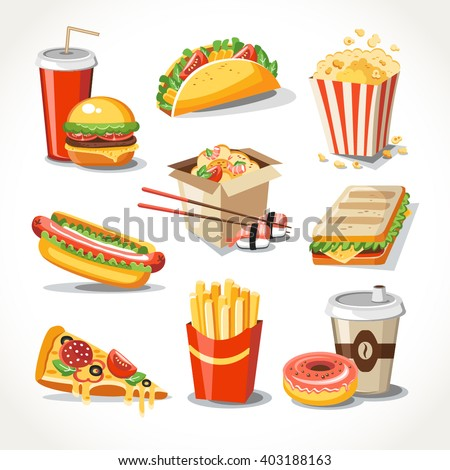 Fast food realistic set