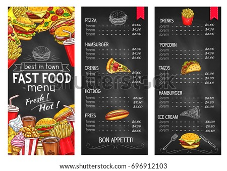 Fast Food Restaurant Chalkboard Menu Template. Fast Food Dishes List With  Price And Hamburger,