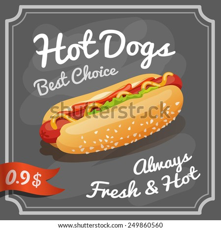 Fast food restaurant chalkboard retro poster with grilled hot dog vector illustration - stock vector