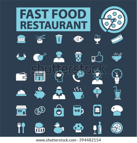 fast food restaurant icons  - stock vector