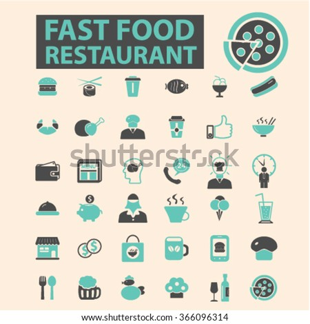 fast food restaurant  icons, signs vector concept set for infographics, mobile, website, application  - stock vector
