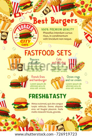 fast food restaurant menu poster template stock vector 726919723