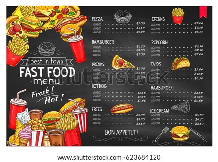 Fastfood on food layout for fridge