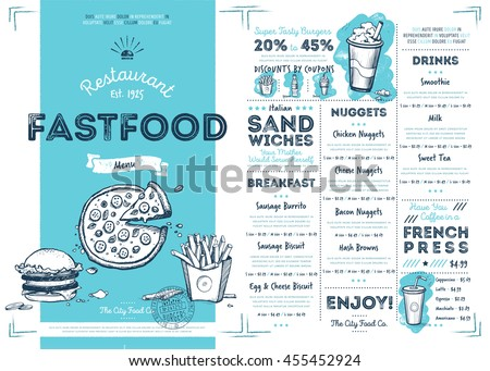 Fast food restaurant menu template vector illustration elements. Hand drawn fast food meal. Burgers, pizza and other food. Fast food cafe menu template. Flyer of fast food meal. Fast food menu design. - stock vector