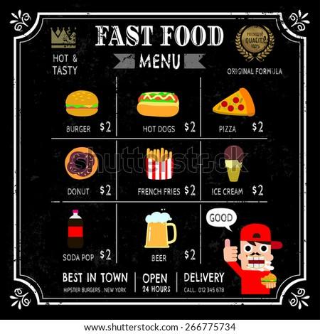 Fast food restaurant poster menu with hipster emblem on chalkboard . vector illustration - stock vector